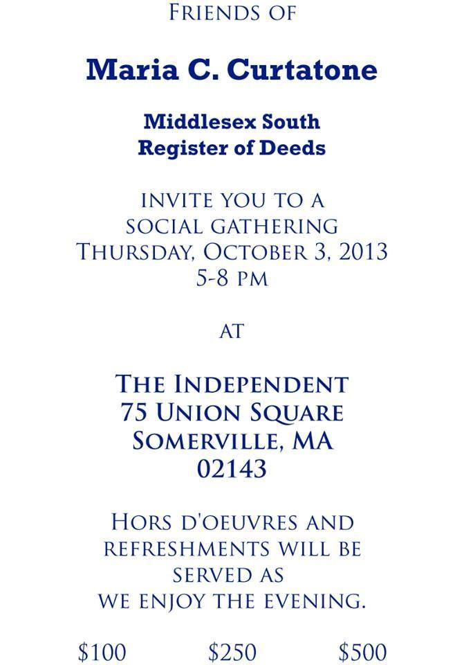 South Middlesex Register of Deeds Maria Curtatone Invites You!
